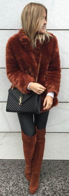 Lene Orvik Camel Faux Fur And O T K B Fall Street Style Inspo #Fashionistas