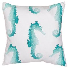 "Colorful Seahorse Outdoor Pillow This fun, vibrant seahorse indoor/outdoor pillow is the perfect addition to any home. Choose between: Orange & White or Turquoise & White. Polyester insert included. (18""x18"")"