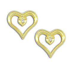 Brinco folheado a ouro em forma de coração c/ zircônia no centro