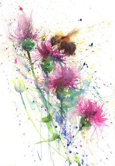 LIMITED edition print 'bee on Knapweeds' wildflower floral original watercolour painting illustration wall art home office decor hand signed LIMITED Ausgabe Druck Biene auf Knapweeds Watercolor Flowers, Watercolor Art, Watercolour Paintings, Watercolours, Bee Art, Guache, Fine Art Paper, Original Paintings, Art Prints