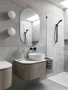 Why use large format tiles you ask ? Check out Z S here 👉🏻 for awesome style and design tips. Stunning bathroom design featuring tiles supplied by Repost ~ Modern Bathroom Design, Bathroom Interior Design, Home Interior, Bathroom Designs, Interior Ideas, Grey Bathrooms, Small Bathroom, White Bathroom, Bathroom Large Tiles