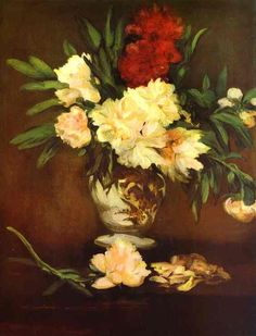 1864 - Peonies in a vase - Édouard Manet