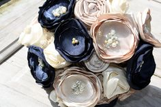 Champagne and navy bouquet 10 Champagne and navy by thepaisleymoon, $225.00