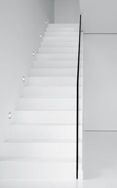 lighting for stairs~~ Minimalist Architecture, Minimalist Design, Interior Architecture, Interior Design, Modern Staircase, Staircase Design, Stair Design, White Stairs, Stair Detail