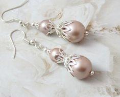 Pearl Drop Earrings, Silver Earrings, Jewellery Earrings, Dangle Earrings, Bridesmaid Earrings, Wedding Earrings, Blush Pink Bridesmaids, Bridesmaid Dress, Vintage Wedding Gifts