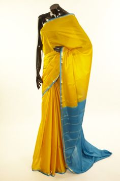 Mysore Crepe- crepe baby yellow saree with blouse