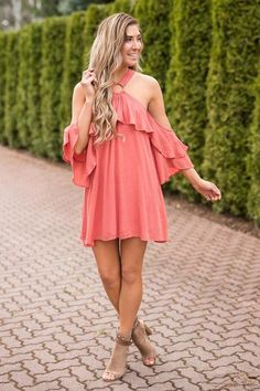 Can't Hide O Ring Detail Ruffle Dress, back of dress is just as cute. Love this for Montgomery