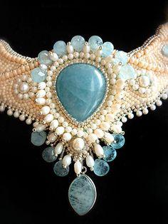 Aquamarine Necklace with freshwater pearls and by JewelryElenNoel. , via Etsy.