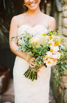 Blush, yellow and green wedding bouquet