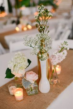 gold and blush pink wedding ideas centerpieces  by Flour and Flower Designs