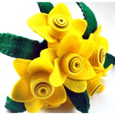 Daffodil Bouquet Felt Flower Bouquet Button Bouquet Wedding Flowers... (81 BAM) ❤ liked on Polyvore featuring home, home decor, floral decor, flower stem, button flower bouquet, floral bouquets and handmade home decor