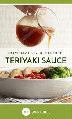 """Healthy Recipes : Illustration Description Learn how to make gluten free teriyaki sauce right in your own kitchen! It's simple, affordable, and tastes WAY better than the store-bought stuff! """"Sweat is fat crying"""" ! Gluten Free Teriyaki Sauce, Gluten Free Sauces, Homemade Teriyaki Sauce, Homemade Sauce, Gf Recipes, Dairy Free Recipes, Sauce Recipes, Cooking Recipes, Asian Recipes"""