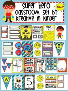 Super Hero Classroom Set Kreative-in-Kinder Shop - | Teachers Notebook