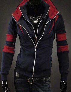 Áo khoác 2 dây kéo màu xanh đen sọc đỏ mã sản phẩm B5161 Giá: 180.000đ