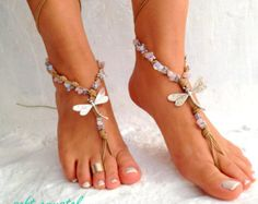 Silver WINGS Barefoot sandals beaded sandals native