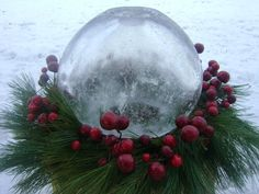 Winter Ice Globe Lanterns. I have made these in many different shapes. Fun and easy. only limited by imagination. Christmas Window Boxes, Christmas Planters, Christmas Porch, Outdoor Christmas Decorations, Santa Christmas, Christmas And New Year, Christmas Ideas, Christmas Wreaths, Christmas Crafts