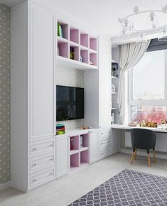 Closet Designs With Tv Ideas Small Room Bedroom, Home Decor Bedroom, Girls Bedroom, Decor Room, Kids Bedroom Designs, Kids Room Design, Closet Designs, Room Interior, Interior Design Living Room