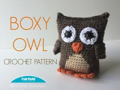 The Boxy Owl crochet pattern is the companion to the Boxy Fox amigurumi. It is made with a rectangular base which gives it the boxy shape. The feet, and wings are crocheted into the body so they are very securely attached. The eyes and beak are crocheted separately and then appliqued onto the body. Weighted stuffing beads sewn in a little fabric pouch and inserted in the bottom help the owl sit up.