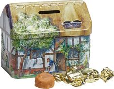 Thatched Cottage Tin Bank  w/ English Toffees ~ $16.95