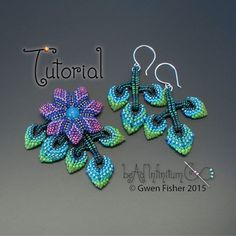 Make earrings and a pendant with sparkling leaves and flowers. Cellini Flowers and Leaves are my original variations on beaded Cellini spiral,
