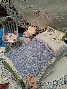 Dolls House  Bedding Set  Light Blue   old by LaboratoriodiManu, €20.00
