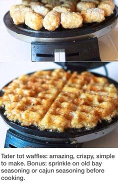 Tater tots in a waffle maker, easy!