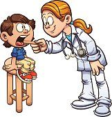Cartoon doctor examining a boy's throat. Vector clip art illustration with simple gradients. Some elements on separate layers.