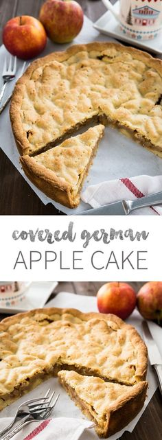 This Covered German Apple Cake is one of the best apple cakes! Filled with cinnamon-seasoned apple chunks and topped with a vanilla shortbread crust. You can get this cake in every German bakery!