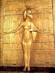 Wooden gilded statue of Selket, protecting Tutankhamun's shrine