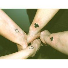 friendship tattoos, friend tattoos and sibling tattoos. Sibling Tattoos, Bff Tattoos, Wrist Tattoos, Future Tattoos, Body Art Tattoos, Poker Tattoos, Symbol Tattoos, Squad Tattoos Best Friends, Tatoos For Best Friends