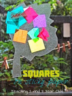 Teaching 2 and 3 Year Olds: Tissue Paper Crafts: Squares on Sticky Paper