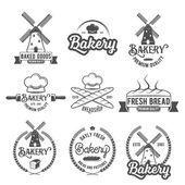 Coleção de distintivos de logotipo padaria retro vintage e rótulos — Ilustração de Stock #108915890