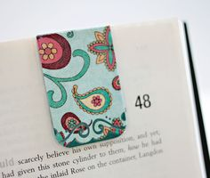 Magnetic Bookmark, Laminated, Paisly, Swirls, Red Blue Yellow, Ready To Ship. $4.00, via Etsy.