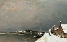 Louis Apol - Winterlandschap met kanaal en huizen langs de dijk