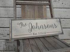 Personalized Family Name Sign. Last Name Wood Sign with Established Date. Great Wedding Gifts, Bridal Shower or Anniversary Gifts 7x22 by Wildoaks on Etsy https://www.etsy.com/listing/248395988/personalized-family-name-sign-last-name