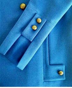 Bat sleeve midi-dress with velvet cotton finishing. Decorative button placket in front. Side pockets decorat… in 2020 Kurti Sleeves Design, Sleeves Designs For Dresses, Sleeve Designs, Blouse Designs, Abaya Fashion, Fashion Dresses, Abaya Mode, Sewing Sleeves, Mode Mantel