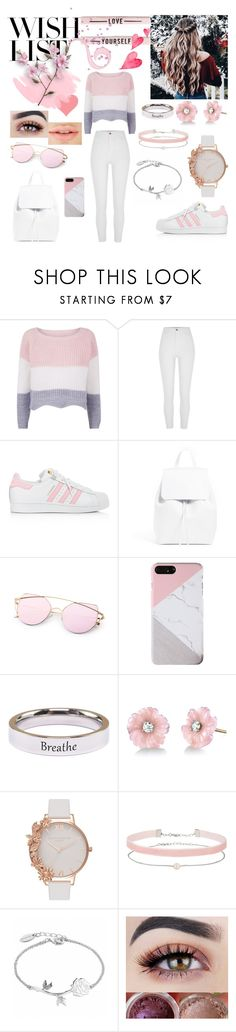 """CUTE & CASUAL GIRL STYLE"" by blerina4 ❤ liked on Polyvore featuring River Island, adidas, Pink Box, Irene Neuwirth, Olivia Burton and Miss Selfridge"