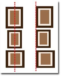 The vertical alignment:   Nicely used for narrow walls (between two windows for example). It is possible to align the centers of the frames ... or align their edges, especially near a door or a window.   This type of alignment is particularly appropriate in lower rooms : visually it raises the ceiling.
