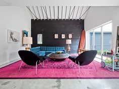 The Barn Reborn: Mark Zeff's House in East Hampton   Projects   Interior Design - pink rug