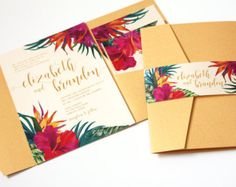 Tropical Wedding Invitation, Tropical Flowers, Destination Wedding Invitation, Beach Wedding Invitation, Hawaii Wedding, Hibiscus, -DEPOSIT