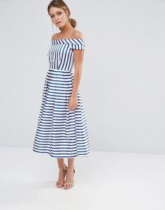 Closet+Stripe+Off+the+Shoulder+Dress