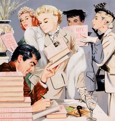 The Book Signing… Illustration by J. Frederick Smith forCollier'smagazine, 1950s.