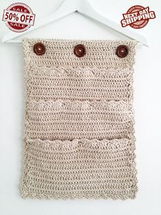 8 Pockets Crochet Organizer, Over-the-door Organizer, Closet Organizer, Natural Beige on Etsy, 50,00 $