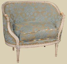 """93-201  Louis XVI Sofa Corbeille  (c: 1820)  35""""w x 25""""d x 33""""h  $4,800"""
