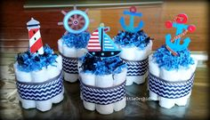 Set of 5 mini Nautical Diaper cake, boys diaper cake, Sailor Diaper cake - http://www.babyshower-decorations.com/set-of-5-mini-nautical-diaper-cake-boys-diaper-cake-sailor-diaper-cake.html
