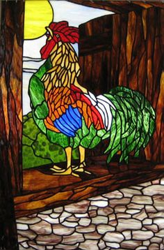 Rooster in the Haymow    stained glass art