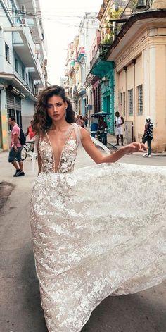 10 Best Wedding Dress Designers For 2017 ❤️ wedding dress designers lace floral deep plunging v neckline sleeveless julie vino ❤️ See more: http://www.weddingforward.com/wedding-dress-designers/ #wedding #bride