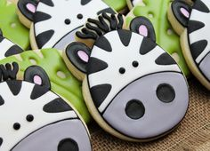 Zebra Cookies~       By SweetTweets - Safari Zoo Jungle Zebra Cookies - 1 dozen, black, white
