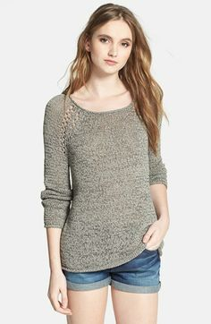 A softly textured sweater matches a patterned smooth face.  The inset should design softens a wide shoulder and is perfect for weekend casual wear. Soft Joie Open Knit Pullover | Nordstrom