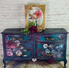 Just look at this beauty by the thefarmgypsy The mixture of colors and the Imperial Garden Decor Transfer are the perfect combination Decoupage Furniture, Hand Painted Furniture, Funky Furniture, Paint Furniture, Unique Furniture, Repurposed Furniture, Shabby Chic Furniture, Furniture Projects, Furniture Makeover